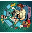 IT geek working on computers virtual reality vector image vector image
