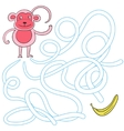 Labyrinth maze find a way monkey vector image vector image
