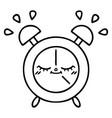 line drawing cartoon alarm clock vector image vector image
