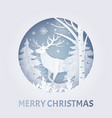 merry christmas greeting with deer in forest vector image vector image