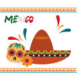 mexican independence day skull flowers and hat vector image vector image
