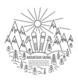 mountains skiing line icon vector image