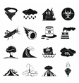 Natural disaster icons set black simple style vector image vector image