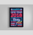 new year 2018 party poster in neon style happy vector image vector image