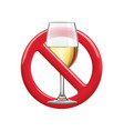 no drinking sign prohibiting sign for alcohol vector image