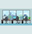 office room with workplaces big window and vector image
