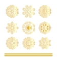 Oriental gold pattern set vector image vector image