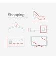 Outline design shopping icon set vector image