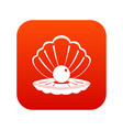 pearl in a sea shell icon digital red vector image vector image
