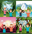 people celebrating in the jungle vector image