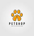 pet shop logo with footprints design line art pet vector image vector image