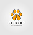 pet shop logo with footprints design line art vector image