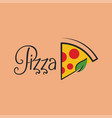 pizza logo with pizza slice background vector image