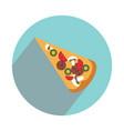pizza slice on white background flat vector image