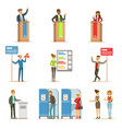 political candidates and voting process set of vector image