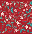 Seamless christmas flower mistletoe pattern