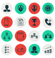 set of 16 hr icons includes female application vector image vector image