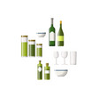 set of bottles and glasses vector image