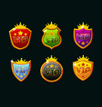 shields with vip logo awards achievement vector image vector image