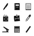 stationery icon set simple style vector image vector image