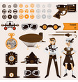 steampunk objects and characters set airship vector image vector image