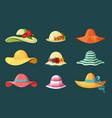 summer womens hats set bright red headdress blue vector image