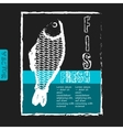 template for fish menu with retro effect vector image