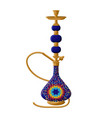 Traditional turkish ceramic blue hookah isolated