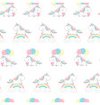 unicorn over rainbow fashion seamless pattern vector image