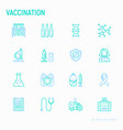 vaccination thin line icons set vector image vector image