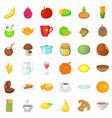 vegetarian sale icons set cartoon style vector image vector image