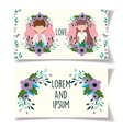 wedding couple flowers greeting cards vector image vector image