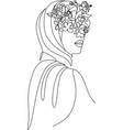 woman face with flowers one line drawing vector image vector image