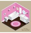Bathroom 3D interior Pink background vector image