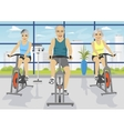 Senior people working out on exercise bikes vector image