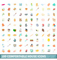 100 comfortable house icons set cartoon style vector image vector image