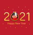 2021 happy new year with chinese zodiac metal cow vector image vector image