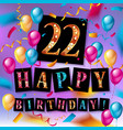 22nd anniversary celebration design vector image vector image