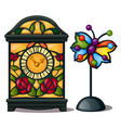 ancient clock and butterfly stained glass vector image