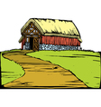 Barn on Hill vector image vector image