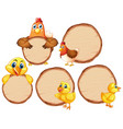 blank sign template with many chickens on white vector image vector image