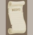 cartoon blank empty paper menu for restaurant vector image