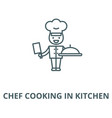 chef cooking in kitchen line icon chef vector image vector image