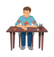 child boy with smarphone sitting at table isolated vector image vector image