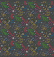 christmas doodle color pattern vector image