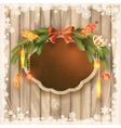 Christmas frame board garland ornaments birds vector image vector image