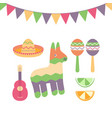 cinco de mayo festival in mexico icon set set of vector image