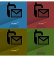 Color set Sms Flat modern web button with long vector image vector image