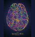colorful of human brain with vector image