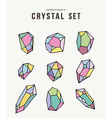 Colorful retro crystal set of icons vector image vector image